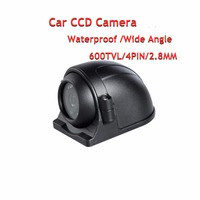4Pin 600TVL CCD Car Camera 120degree Wide Angle Side /Back Rear View Waterproof Backup Camera For Vehicle Surveillance Security