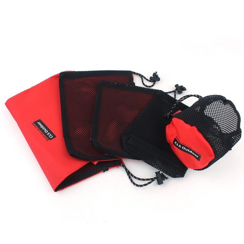 5pcs/set Outdoor Bag Ultralight Mesh Stuff Sack Camping Hiking Traveling Climbing Drawstring Bags Sports Drawstring Storage Bag