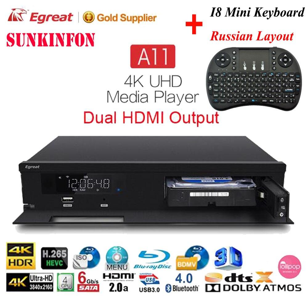 Egreat A11 4 k Ultra HD Android TV Box Hi3798CV200 2T2R WIFI Gigabit LAN HDR10 Blu-ray 3D Dolby ATOMES DTS X VIDON 2 Media Player