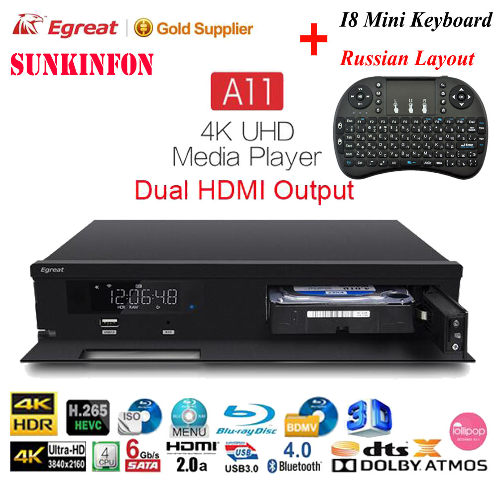 Egreat A11 4K Ultra HD Android TV Box Hi3798CV200 2T2R WIFI Gigabit LAN HDR10 Blu-ray 3D Dolby ATOMS DTS X VIDON 2 Media Player