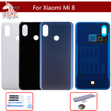 10pcs For Xiaomi mi 8 mi8 Back Glass Battery Cover Rear Door Housing Case Panel Replacement xiaomi With Logo