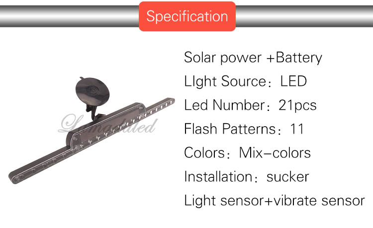 40cm LED Solar strobe ranger light auto anti rear-end collision flash lamp  Car rear window Solar power blinking Lights