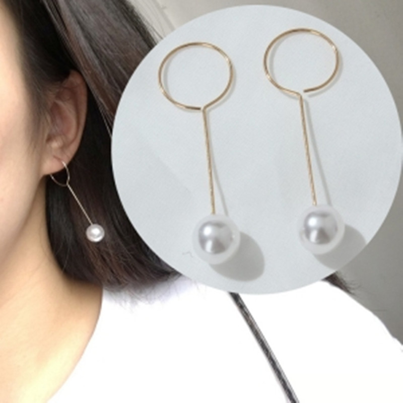 2017 fashion new imitation pearl circle long section ladies tassel simple earrings free shipping Bohemian Earrings