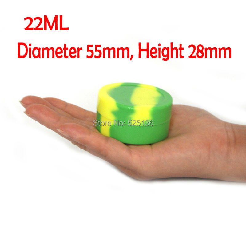 Newest 22ml Silicone Jars Box Dab Round Shape Silicone Container for Wax Dry Herb Oil Wax Vaporizer