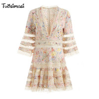 2018 Summer Party Multi Vestidos Femininos Woman Lace Hollow Out Flare Sleeve V Neck Sexy Dresses