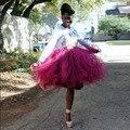 2016 Africano Mujeres Corto Tutu Faldas de Tul Por Encargo de La Rodilla Longitud del vestido de Bola Faldas Sólido Ocasional Saia Envío Libre