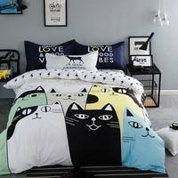 2016 New Lovely Cat Cartoon Kids Bedding Set Bed Linen 3d Bedding Sheet Duvet Cover Pillowcases