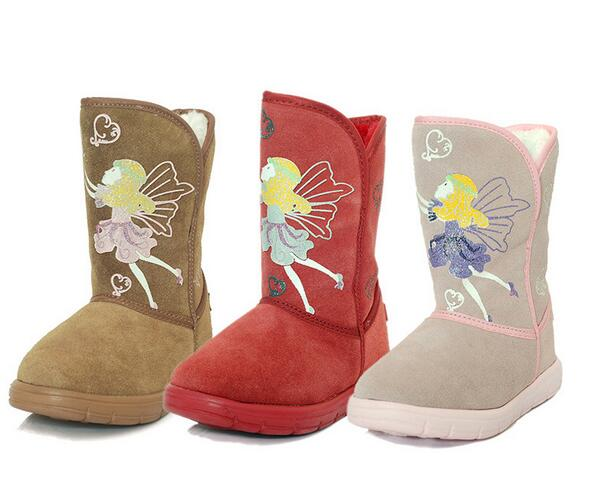 2016 New Children Shoes Suede leather winter plus cotton velvet shoes Children snow boot ...