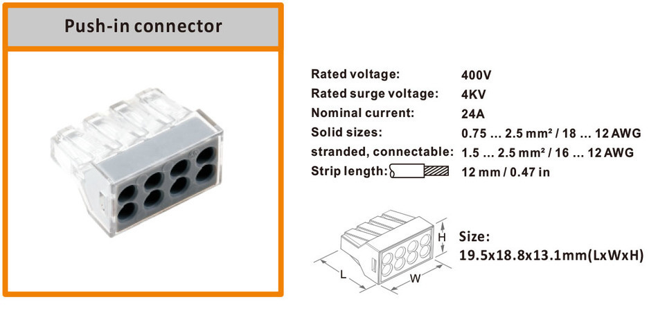 10PCS PCT 108 773 108 8 push wire wiring connectors for junction box 8pin conductor terminal block transparent in Connectors from Lights Lighting