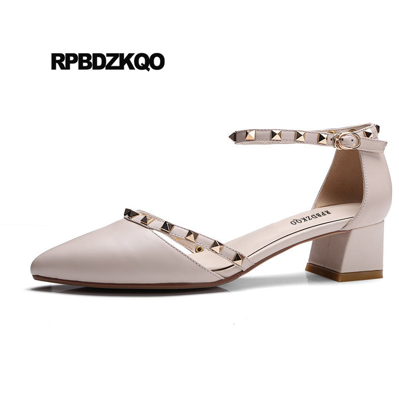 Pointed Toe Rivet Stud Italian Luxury Women Shoes Size 4 34 Ankle Strap Block Beige Sandals Pumps Pink Medium Heel Metal Cool sandals metal strap pumps square toe beige vintage medium 2017 women shoes high heels size 33 slingback belts block chinese