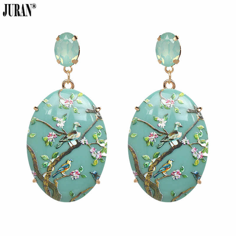 JURAN Long Geometric Resin Pendant Earrings for Women Wedding Rhinestone Dangle Drop Earrings Hand Painted Maxi Jewelry Gift