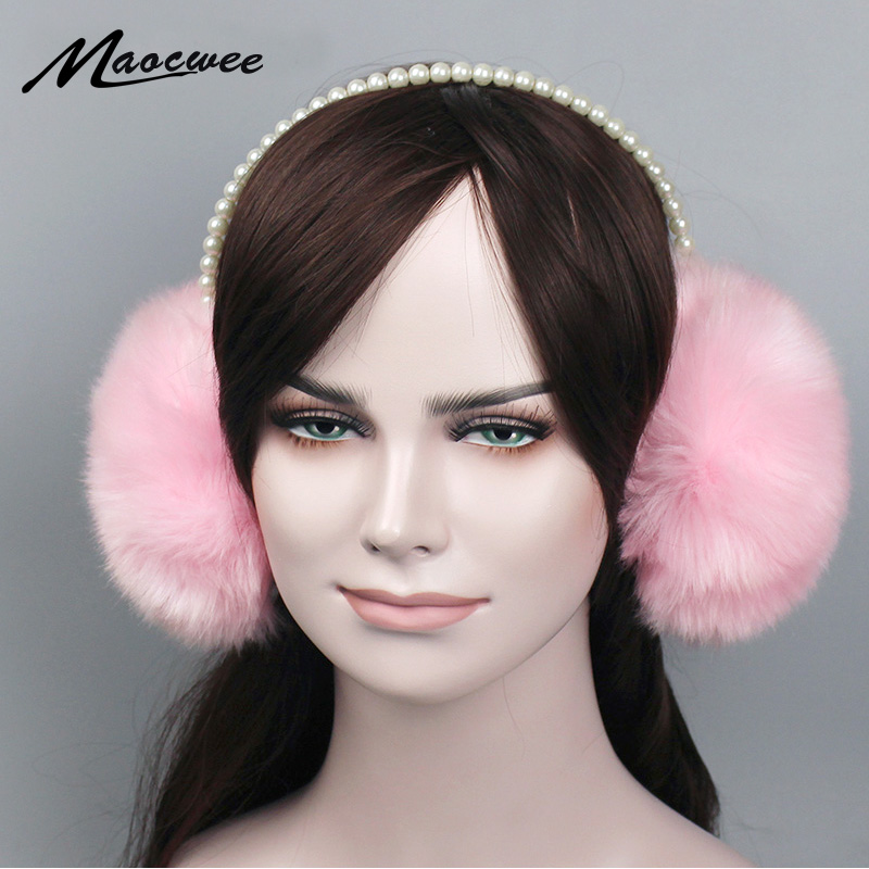Fashion Faux Rabbit Fur Earmuffs Ear Muffs Ear Warmers Fake Pearls Earmuffs Winter Outdoor Women Christmas Gifts 2018