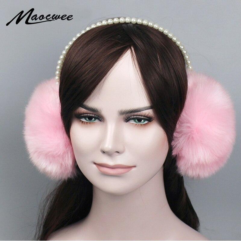 Fashion Faux Rabbit Fur Earmuffs Ear Muffs Ear Warmers Fake pearls Earmuffs Winter Outdoor Women Christmas Gifts 2018