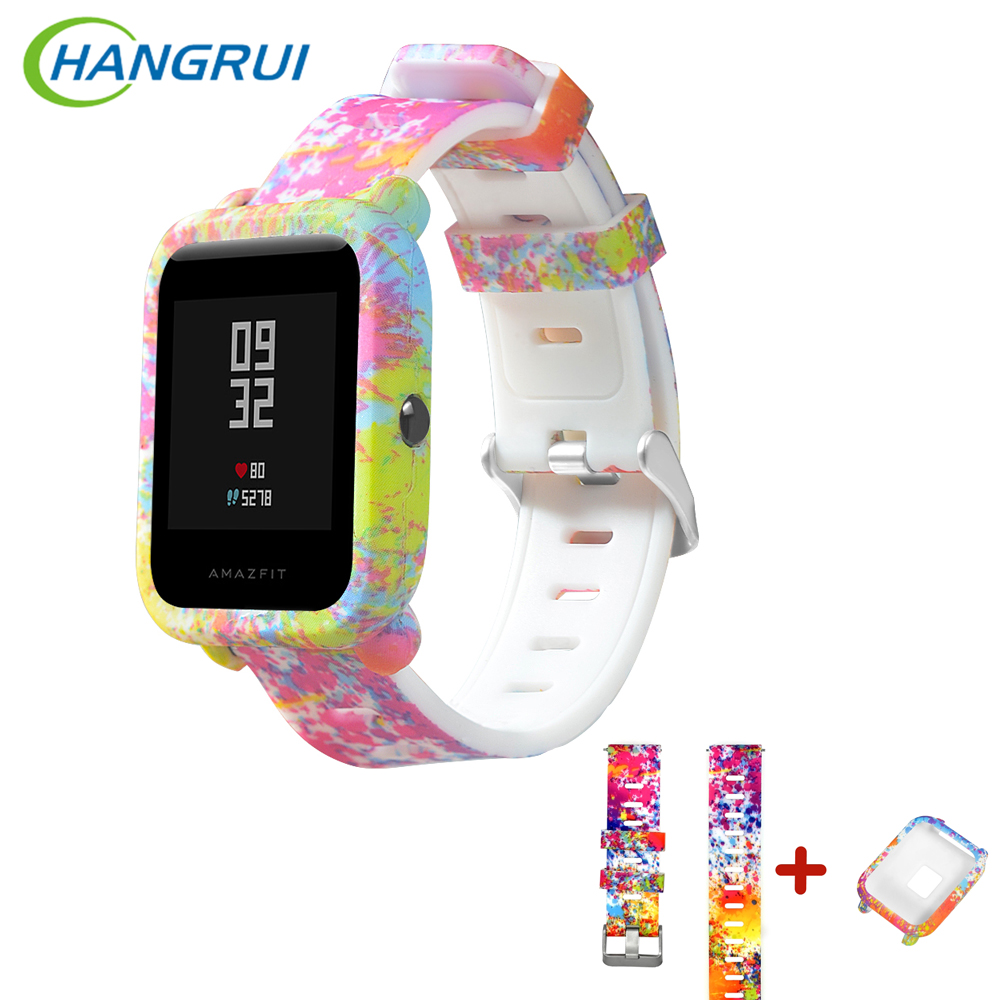 HANGRUI Silicone Starp For Xiaomi Huami Amazfit Bip Strap Watchband + Protective PC Watch Case Cover For Amazfit Bip Accessories