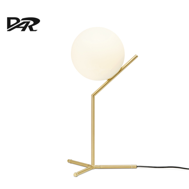 Nordic Art Deco Design D20cm White Glass Ball Table Lamp Gold Iron Bedside Table  Lamps LED