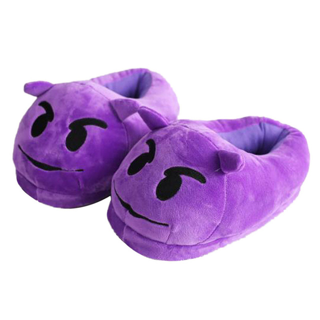 Promotion Purple Enjoy Emotion Plush Slippers Winter House Indoor Anger Emoji Shoes Men Women Children Expression pantuflas