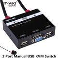 Extensão VGA 2 Portas USB KVM SWITCH Manual com Controle Remoto Switcher Pressione a tecla Do Painel Cabos Embutidos 1 K & M Combo Opera 2 Computadores