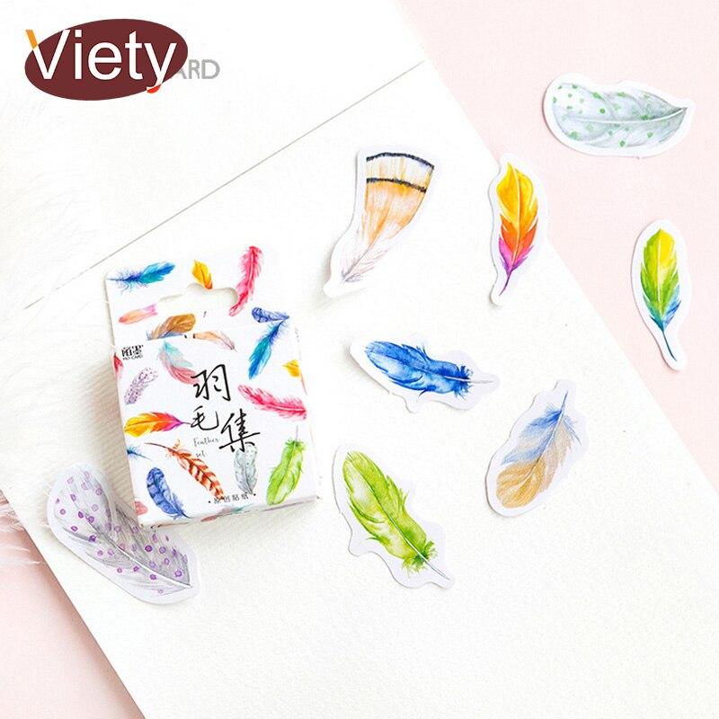 45 Pcs/Box Beautiful Feather Decoration Paper Sticker Decoration DIY Album Diary Scrapbooking Label Sticker Kawaii