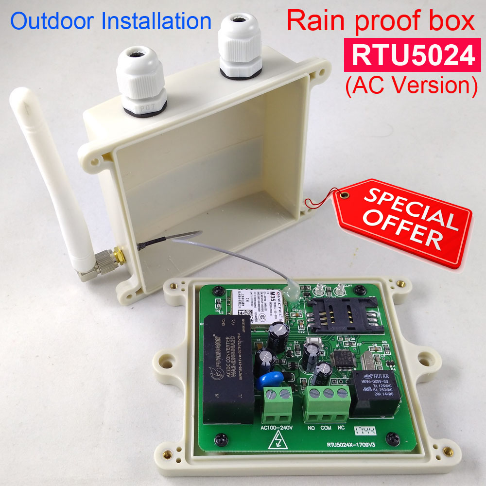 Rain proof version RTU5024 GSM Gate Opener Relay Switch Remote Access Control By Free Call app support rtu5024 gsm gate opener relay switch remote access control wireless door opener by free call iphone and android app support