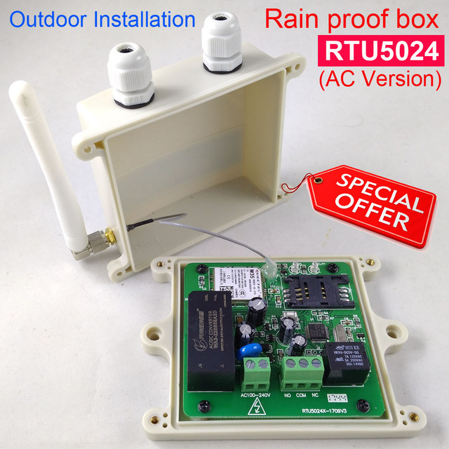 Rain proof version rtu5024 gsm gate opener relay switch remote rain proof version rtu5024 gsm gate opener relay switch remote access control by free call app ccuart