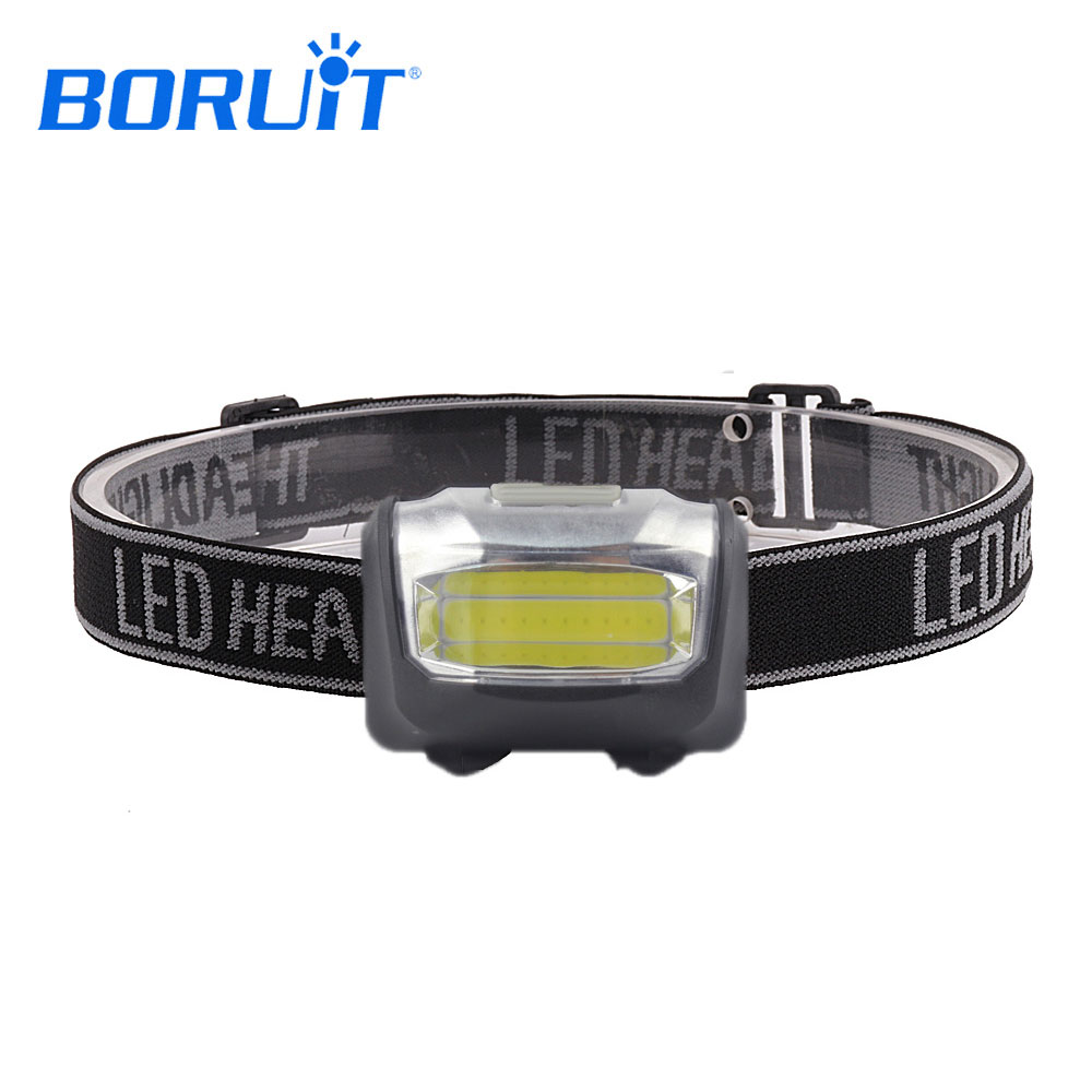 BORUIT 600LM COB LED Headlight White Light 3 Modes Headlamp Super Bright For Fishing Hunting Caming Lighting Mini Head Torch r3 2led super bright mini headlamp headlight flashlight torch lamp 4 models