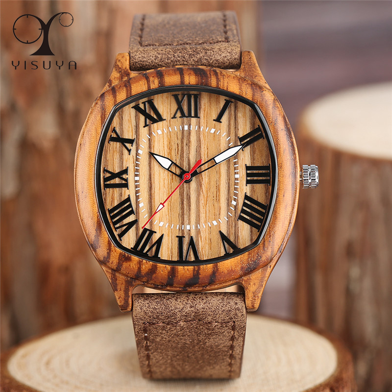 YISUYA Bamboo Wooden Watches Mens Creative Wood Wristwatch Analog Quartz Leather Vintage Roman Numerals Fashion Business Clock yisuya luxury wooden watches for men vintage analog quartz handmade walnut zebra bamboo wood band wristwatch clock gifts reloj