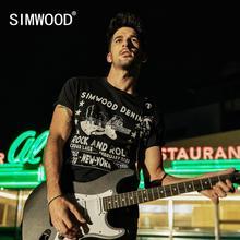 SIMWOOD 2020 lato nowy t shirt mężczyźni moda hip hop 100% bawełna crazing wzór zgrywanie t shirt streetwear topy tees 190290