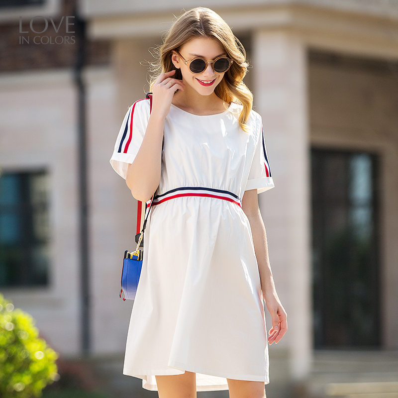 Loveincolors Maternity Women Dress Hide Nursing Mouth Summer Pregnant Clothes Contrast Color Belt