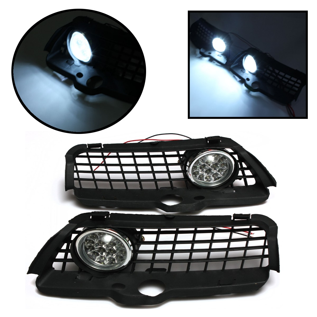 2016 Newest 170703248756 6000K LED FOG LIGHT LAMP FRONT LOWER GRILL KIT FOR VW/MK3/GOLF 92-98 runmade for 2010 vw transporter t6 t5 before facelift lower bumper grill fog cover fog light lamp set left