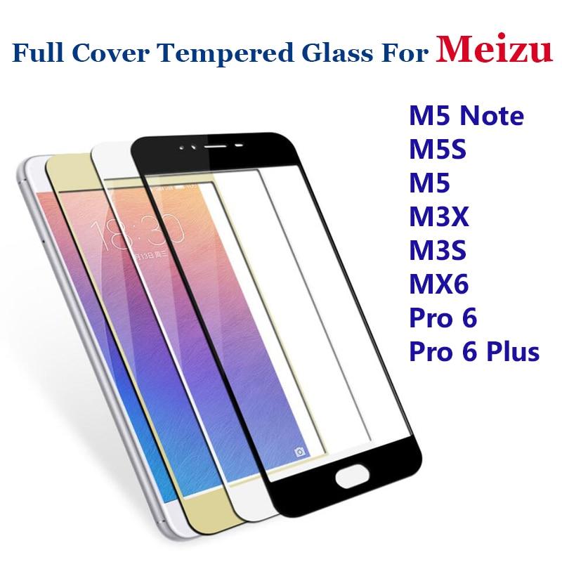 GerTong 9H Hel täckt härdat glas för Meizu M5 Obs M5S M3X M3S Mini Pro6 MX6 U10 U20 M3E Skärmskydd Skyddsfilm