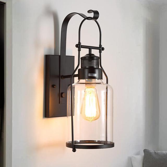 Indoor Wall Light Bedroom Antique Gl Lamp Kitchen Hotel Vintage Sconce Library Modern Lighting