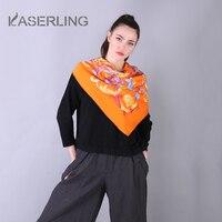 Kaserling Для женщин 100% чистого шелка желтый квадратный шарф мода Desigual Для женщин Desigual пончо 110*110 см с принтом Роскошные платки