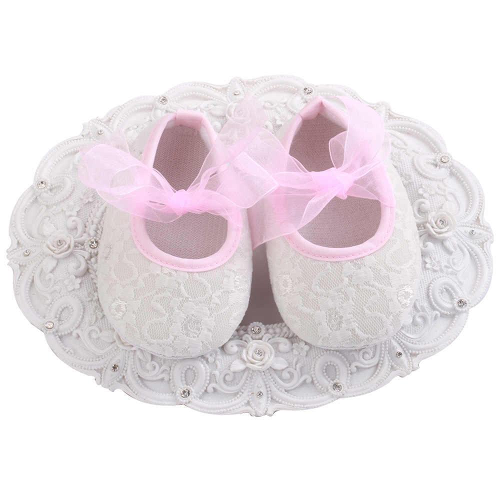 Primavera otoño Bebé Zapatos Niños encaje algodón tela primer caminador antideslizante suave suela infantil recién nacido Niño Zapatos Bautismo zapato blanco