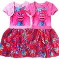 2017 Новые новорожденных девочек с коротким рукавом торт платье детей малышей принцесса Троллей платье для ребенка на день рождения дети девочка крещение платья