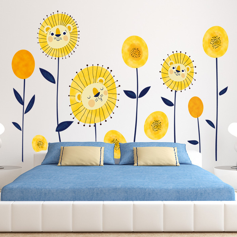 Cute sunflower wall stickers for bedroom removable cartoon nursery ...