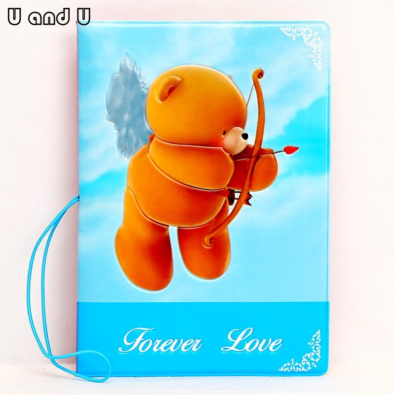 UandU Cartoon Passport Cover for Travel,PU Leather credit card holder with size 14*9.6 cm,passport holder -Forever Love