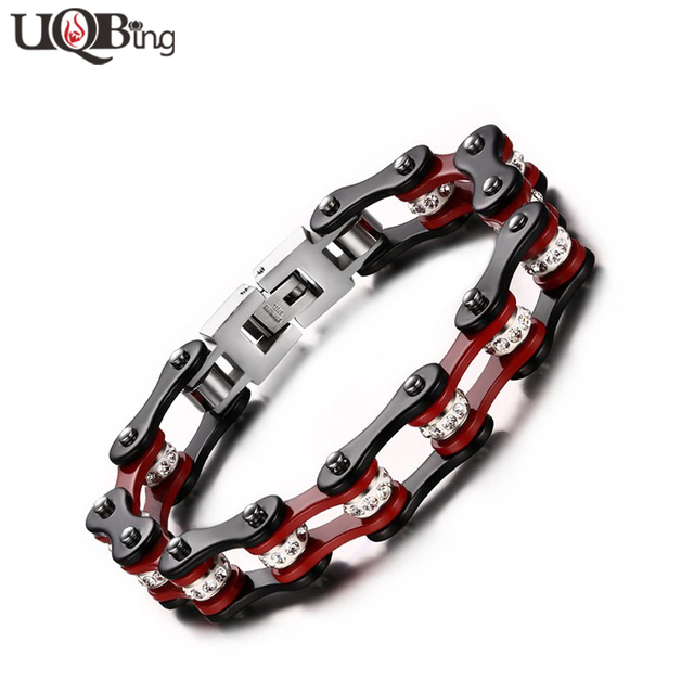 Punk Style Cool Men's 316L Titanium Steel Jewelry Bracelets & Bangles Crystal Rhinestone Motorcycle Black Red Chain Bracelets