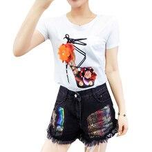 7bab7e65c0d Nueva moda de verano Camisetas mujeres camisetas zapatos flores cordón diamante  diseño Casual Slim Top Roupas Femininas camiseta.