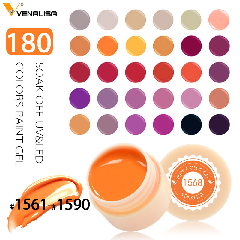 Venalisa UV Gel Nuevo 2019 Nail Art Tips Diseño Manicure 180 Color UV LED Soak Off DIY Pintura Gel Tinta UV Gel Esmaltes de uñas Laca