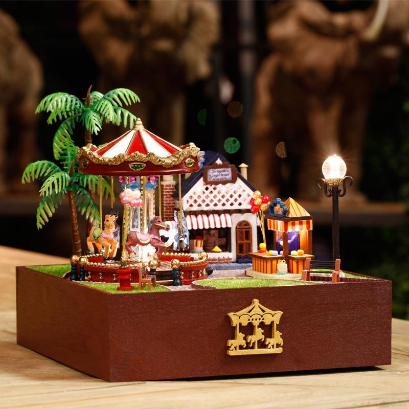 Деревянный Миниатюрный Кукольный дом Мебель DIY игрушка Miniatura головоломки модель Кукольный домик творческий подарок на день рождения-карусе...