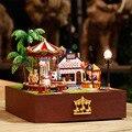 Wooden Miniature Doll House Furniture Diy  Toy  Miniatura Puzzle Model  Dollhouse Creative Birthday Gift-Carousel happy garden