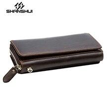 SHANSHUI Echtes Leder Mappe Mens Marke Männlichen Brieftasche Mode Männlichen Kupplung Telefon Kartenhalter Geldbörse Geldbörse Herren Geldbörse Geld