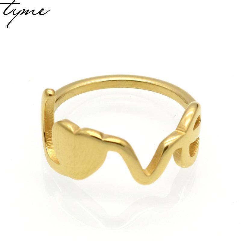 Новинка 2017 года 316L Титан стали моды любовь кольцо для Для мужчин; для женщин кольцо ювелирные изделия вакуумной покрытие золото-цвет письмо ...