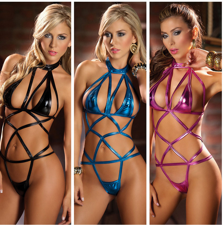 New Arrive Women Hot Erotic Lingerie Leather Bandage Babydoll Hollow Porn Underwear Adult Sexy Costumes Latex Harness Sleepwear