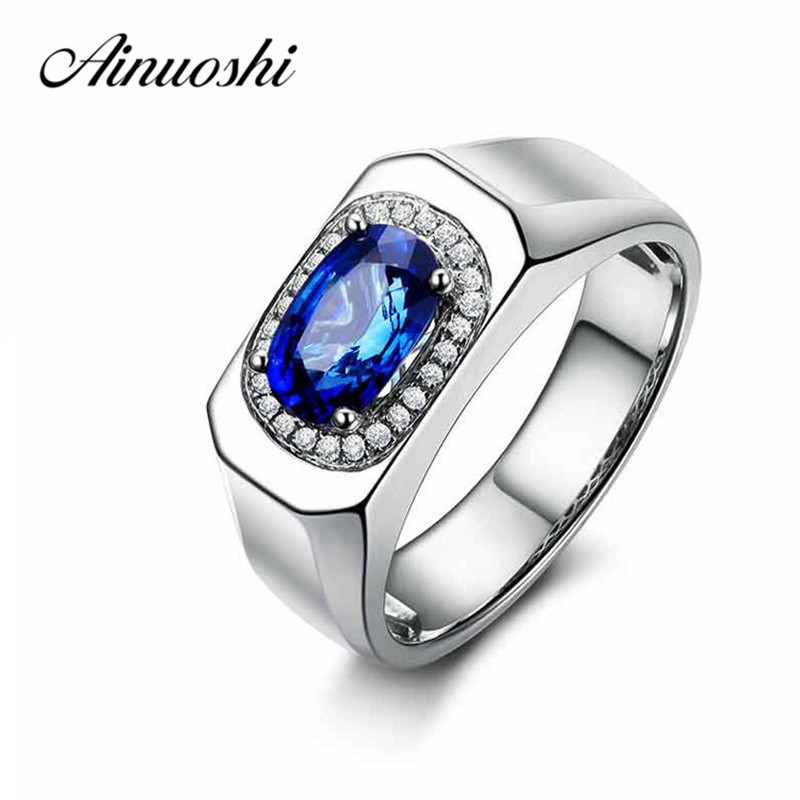 AINUOSHI Trendy 1 25 Carats Big Oval Cut Blue Sona Halo Bridal Rings Fashion 925 Sterling