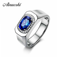 AINUOSHI Trendy 1.25 Carats Big Oval Cut Blue Sona Halo Bridal Rings Fashion 925 Sterling Silver Women Wedding Engagement Rings