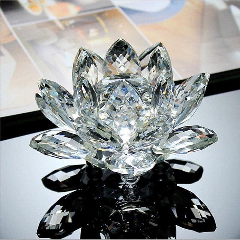 80mm Feng shui Quarz Kristall Lotusblume Handwerk Glas Briefbeschwerer Ornamente Figuren Decor Geschenke Souvenir