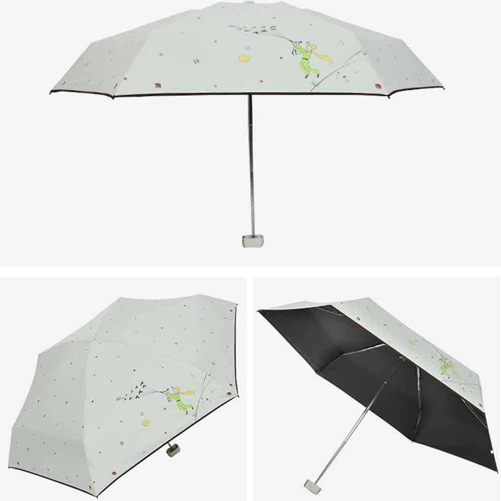 太陽保護 Uv 保護黒プラスチック小さな王子 5 倍傘ミニ太陽傘サニー雨デュアル傘