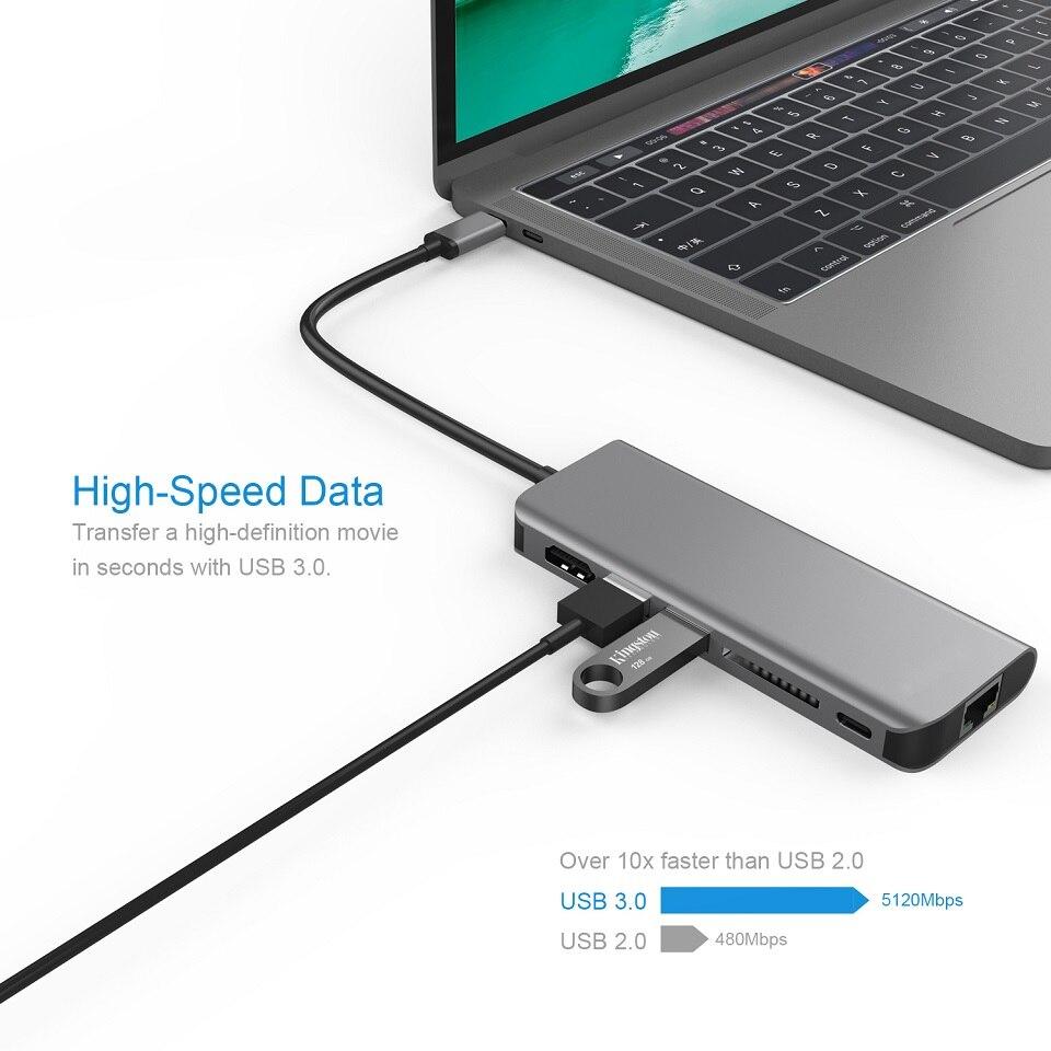 YUNCLOUD USB C Docking Station PD USB 3.0 HDMI RJ45 Gigabit Ethernet LAN with SD Card Reader For Huawei Samsung USB Type-C Hub usb type c hub 6 in 1 usb c docking station to charging port hdmi rj45 gigabit ethernet 2 usb 3 0 ports sd card reader convert