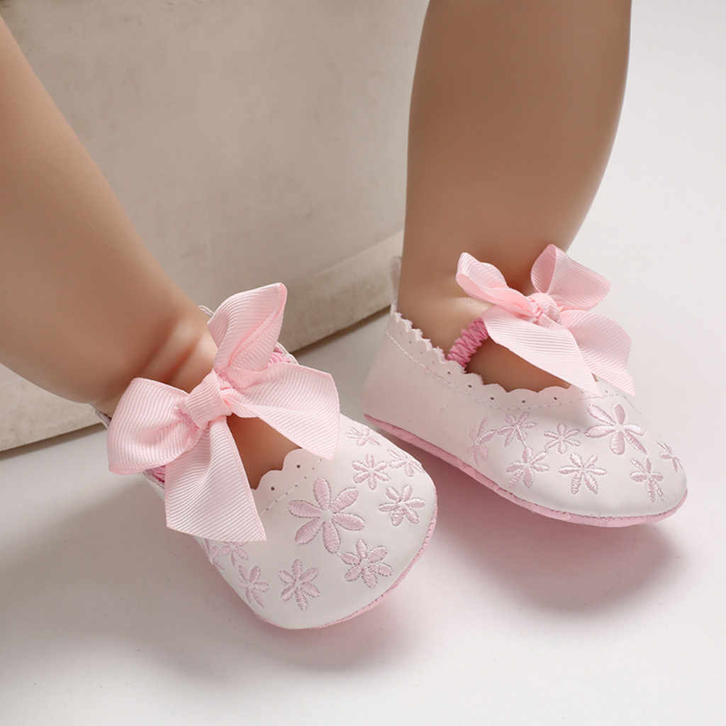 Baby shoes Toddler Infant First walkers Girl shoes Soft Sole Bow Elastic band Embroidery Single Shoes For new born bow